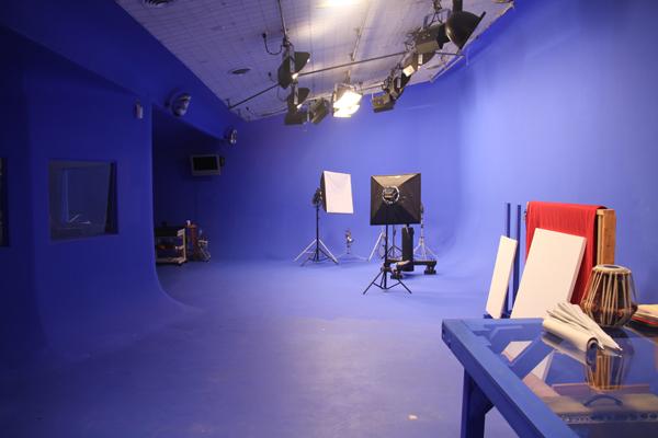 View from barn doors into studio